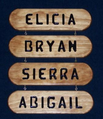routed name sign wood nook
